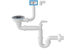 "(1146) 3 1/2"" Ø40mm -S- TRAP SIPHON FOR SINKS WITH MACHINE CONNECTION AND OVERFLOW."